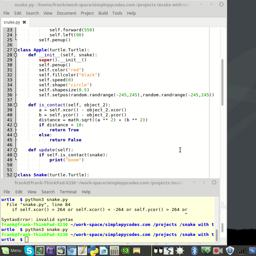 Game developeing with python and turtle. Snake Part 6