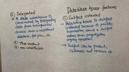 Data Warehouse & Mining 2 Data Warehouse Features